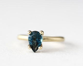14k gold london blue topaz ring, alternative engagement ring, eco friendly