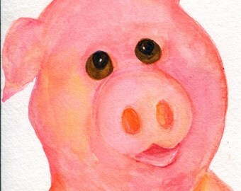 Pig watercolor painting original, pink pig art 4 x 6 pig,  Farmhouse Decor farm animal art, animal portrait, piglet watercolor, pig decor