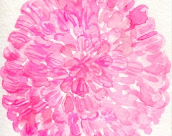 Pink Zinnia Flower Watercolor Painting  Original 4 x 6, pink flower painting, original watercolor of pink flowers, zinnias small art