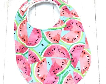 Watermelon Baby Bib for Baby Girl  - Watermelon Baby Bib in Aqua, Coral  - Single Bib - Triple Layer Chenille  - PINK & AQUA WATERMELON