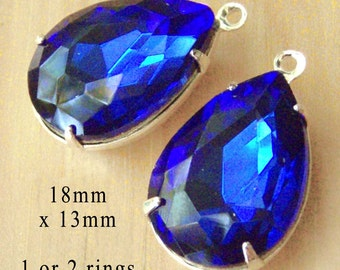 Sapphire Blue Glass Beads, Pear or Teardrop, Silver Plated Brass Settings, 18mm x 13mm, One or Two Rings, Rhinestones, Glass Gems, One Pair