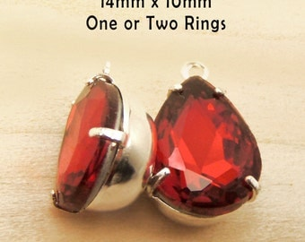 Red Glass Beads, Pear or Teardrop, Silver Plated Brass Settings, Glass Gems, Rhinestone Jewels, Cabochon, Pendant or Earrings, One Pair