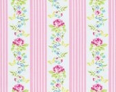1 yard BUTTERFLY TICKING in PINK , with Pink Roses PWTW121 Zoey's Garden by Tanya Whelan Fabric /-  Cotton Quilting Fabric
