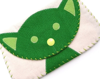 Large Green Cat Snap Wallet Purse