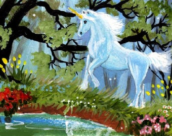 Art Print - Unicorn in the Enchanted Forest, Pond, Flowers, Trees by Patricia Ann Rizzo