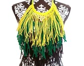 Jamaica Scarf, Caribbean Necklace, Bohemian, Statement Necklace, Fringe Scarf, Festival Wear, Gypsy Scarf, Ethnic Scarf, Boho Scarf