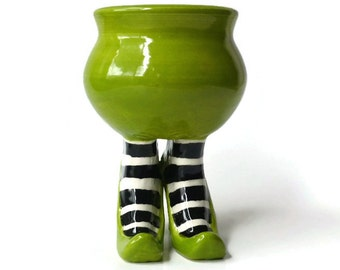 Apple Green Sex Pot with Heels and Striped Leggings