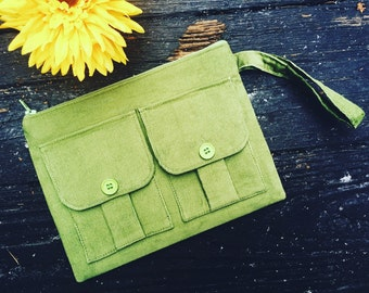 Wristlet - Olive Green Wallet Wristlet, Fabric Wallet, iPhone Wristlet, Wristlet Purse, Zipper Wallet, Zipper Pouch, 144 Collection