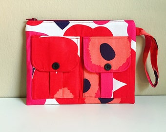Small Poppy Red Floral Wristlet Wallet, Floral Wallet Wristlet, Zipper Wallet, iPhone Wristlet, Fabric Wallet, 144 Collection