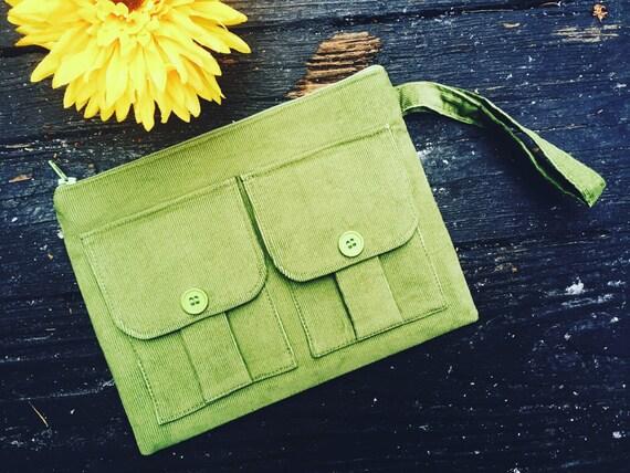 Fabric Wallet, Wristlet Wallet for Women, Phone Wallet, Large Wristlet, Green Wallet, Purse Wallet, Wristlet Gift, Corduroy