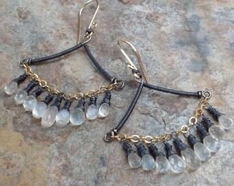 MOONSTONE earrings, CEYLON Moonstone Chandelier Earrings, mixed metals, gemstone earrings, handmade, AngryHairJewelry, artisan