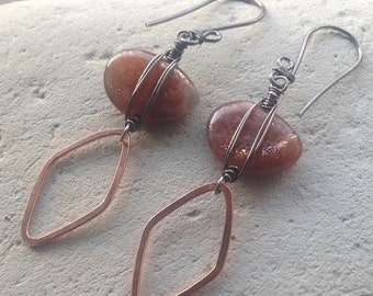 SUNSTONE Earrings with COPPER and sterling silver, handmade artisan jewelry, AngryHairJewelry