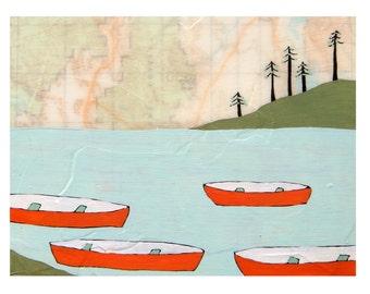 Canoes Map Print // Boat Art // Cabin Art // Modern Decor // Travel Art // Camping Art // Map Artwork // Rachel Austin Art 11x14
