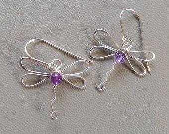 Dragonfly Earrings With Amethyst, Sterling Silver Wire Dangle Earrings, February Birthstone Jewelry Stone Beads, Dragonfly Jewelry, Women