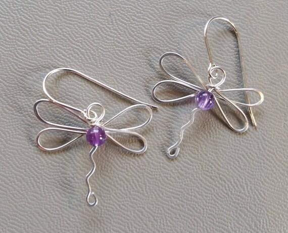 Dragonfly Earrings With Amethyst  Sterling Silver Wire Dangle Earrings - February Birthstone Jewelry Stone Beads - Dragonfly Jewelry, Women