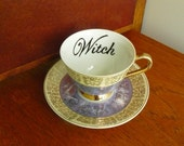 Witch hand painted vintage porcelain teacup and saucer set recycled humor witchy tea time