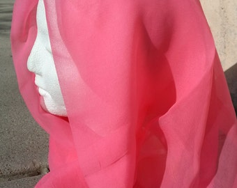 Vintage 1950s Scarf Geranium Pink Rayon 50s Headscarf 2016199