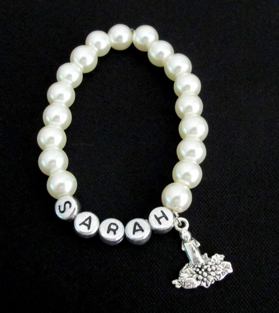 Wedding Candle Girl Jewelry Candle Girl Bracelet Name Brcelet Flower girl bracelet Wedding Flower girl Gift wedding gift Free Shipping USA