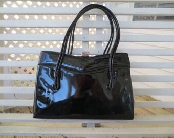 1960s Black Patent Leather Handbag