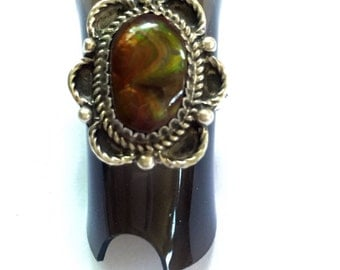 Fire Agate Sterling Silver Ring Size 6