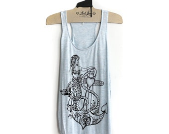 L- Light Blue Thin Racerback Tank Side Slits with Mermaid Anchor Print