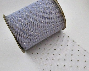 "Tulle Net Ribbon Vintage Supply - Periwinkle with Silver Glitter Polka Dots - 1.00 a yard 5"" Wide 30 Yards Available"