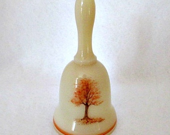 Fenton Glass Vintage Bell / Custard Glass Handpainted Autumn Tree Signed by Artist