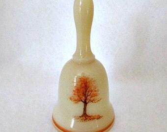 Fenton Glass Vintage Bell / Custard Glass Handpainted Autumn Tree Signed by Artist