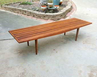 Mid Century Modern Slated Bench or Coffee Table
