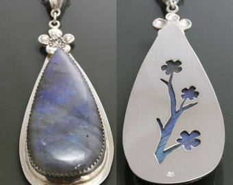 Reversible Labradorite Sterling Silver Pendant with Chain Necklace f15p004