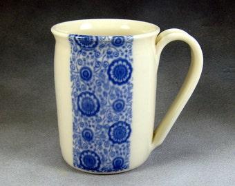 Coffee Mug 12 oz Blue and White Translucent Porcelain Coffee Cup Ceramic Mug Pottery Coffee Mug Wheel Thrown Mug Unique Coffee Mug 12