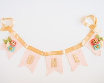 Pink Floral Bunting  // Baby Girl Birthday  // Smash Cake // Photo Prop //Highchair Bunting