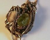 Diamond Quartz Peridot & Silver Wire Wrapped Victorian Inspired Pendant