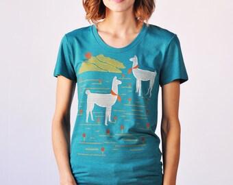 Llamas Graphic T-Shirt, Teal