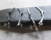 Sterling Twig Earrings, Silver Twig Earrings, Sterling Silver Branch Earrings, Cast Silver Twig Jewelry, Silver Tree Twig Woodland Earrings