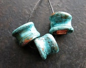 Hammered Copper Tube Bead Trio in Cabos Blue Patina