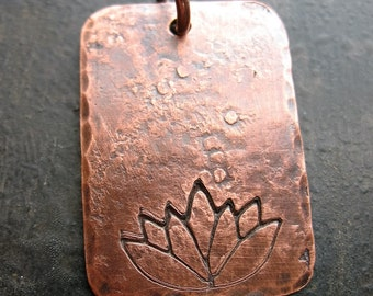 Antiqued Copper Hammered and Lotus Stamped Pendant