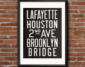 Brooklyn Subway Poster. Brooklyn Bridge screen printed art print, 19x25 silkscreen print. New York City typography, public transportation.