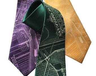 New Orleans Map Necktie. NOLA vintage map print. Crescent City, Mississippi River bend. Purple, green, gold & more, narrow or standard size.