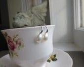 Sleek White Freshwater Pearl Earrings Sterling Silver Minimalist Jewelry