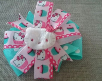 Aqua Hello Kitty Cupcake Stacked Pinwheel Ribbon Hair Bow (1029)