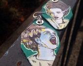 Bride of Frankenstein - Halloween themed hand-painted earrings - haunting hunter green - Elsa Lanchester