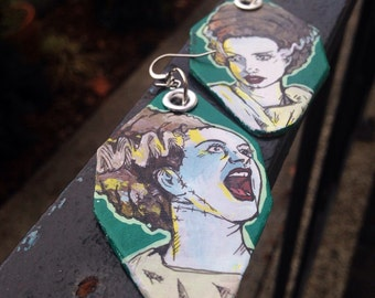 Bride of Frankenstein - Halloween themed hand-painted earrings - haunting hunter green - Elsa Lanchester