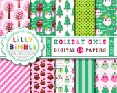 50% off Christmas Owls digital paper in hot pink and green, hoot scrapbook paper INSTANT DOWNLOAD Holiday Owl