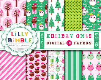 40% off Christmas Owls digital paper in hot pink and green, hoot scrapbook paper INSTANT DOWNLOAD Holiday Owl