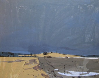 Last Patch, Original Winter Landscape Collage Painting on Panel, Stooshinoff