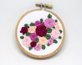 """Diagonal 3D Roses and Leaves 3"""" Hand Stitched Embroidery Hoop Art"""