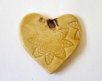 Large Ceramic Pendant Amber Heart