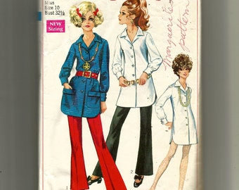 Simplicity Misses' Shirt or Micro-Mini Shirt-Dress and Bell-Bottom Pants Pattern 7906