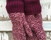 FLASH SALE-40% OFF- Wool Blend Mittens- Simple Elegance-Magenta and Pink
